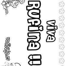 RUFINA colorear nombres niñas - Dibujos para Colorear y Pintar - Dibujos para colorear NOMBRES - Dibujos para colorear NOMBRES NIÑAS