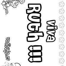 RUTH colorear nombres niñas - Dibujos para Colorear y Pintar - Dibujos para colorear NOMBRES - Dibujos para colorear NOMBRES NIÑAS