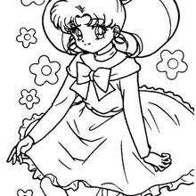 Sailor Moon con flores - Dibujos para Colorear y Pintar - Dibujos para colorear MANGA - Dibujos para colorear SAILOR MOON - Dibujos para colorear e imprimir SAILOR MOON