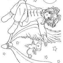 Sakura volando de noche - Dibujos para Colorear y Pintar - Dibujos para colorear MANGA - Dibujos para colorear SAKURA CAZADORA DE CARTAS - Dibujos para colorear gratis SAKURA CAZADORA DE CARTAS