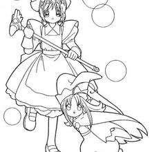 Sakura y diablillo - Dibujos para Colorear y Pintar - Dibujos para colorear MANGA - Dibujos para colorear SAKURA CAZADORA DE CARTAS - Dibujos infantiles para colorear SAKURA CAZADORA DE CARTAS
