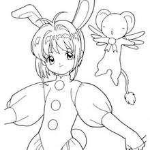 Dibujo para colorear : Sakura conejo