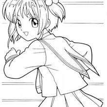 Sakura  corriendo - Dibujos para Colorear y Pintar - Dibujos para colorear MANGA - Dibujos para colorear SAKURA CAZADORA DE CARTAS - Dibujos para colorear gratis SAKURA CAZADORA DE CARTAS