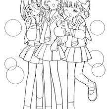 Sakura y amigas a la escuela - Dibujos para Colorear y Pintar - Dibujos para colorear MANGA - Dibujos para colorear SAKURA CAZADORA DE CARTAS - Dibujos infantiles para colorear SAKURA CAZADORA DE CARTAS