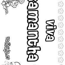 SAMANTHA colorear nombres niñas - Dibujos para Colorear y Pintar - Dibujos para colorear NOMBRES - Dibujos para colorear NOMBRES NIÑAS