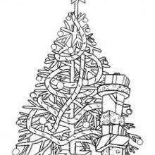 Dibujo Arbol de Navidad con guirnaldas para colorear - Dibujos para Colorear y Pintar - Dibujos para colorear FIESTAS - Dibujos para colorear de NAVIDAD - Dibujos para colorear ARBOL DE NAVIDAD