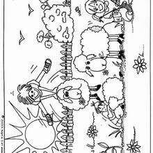 Juego con las ovejas - Dibujos para Colorear y Pintar - Dibujos para colorear ANIMALES - Dibujos ANIMALES DE GRANJA para colorear - Colorear OVEJAS
