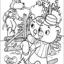 Dibujo de los 3 cerditos con el lobo - Dibujos para Colorear y Pintar - Dibujos de CUENTOS para colorear - Dibujos de los 3 CERDITOS para colorear