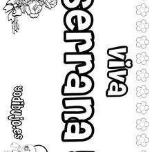 SERRANA colorear nombres niñas - Dibujos para Colorear y Pintar - Dibujos para colorear NOMBRES - Dibujos para colorear NOMBRES NIÑAS