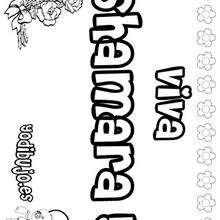 SHAMARA colorear nombres niñas - Dibujos para Colorear y Pintar - Dibujos para colorear NOMBRES - Dibujos para colorear NOMBRES NIÑAS