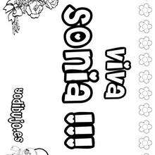 SONIA colorear nombres niñas - Dibujos para Colorear y Pintar - Dibujos para colorear NOMBRES - Dibujos para colorear NOMBRES NIÑAS