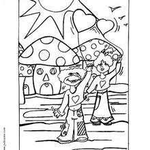 Bajo los hongos - Dibujos para Colorear y Pintar - Dibujos para colorear FIESTAS - Dibujos para colorear SAN VALENTIN - Dibujos para colorear DIA DE SAN VALENTIN