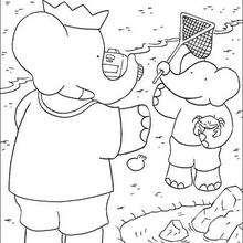 En la playa - Dibujos para Colorear y Pintar - Dibujos para colorear PERSONAJES - PERSONAJES ANIME para colorear - Babar el elefante para pintar