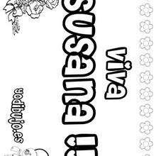 SUSANA colorear nombres niñas - Dibujos para Colorear y Pintar - Dibujos para colorear NOMBRES - Dibujos para colorear NOMBRES NIÑAS