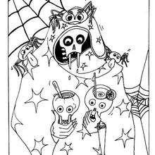 Dibujo para colorear : la telaraña y la calavera  halloween