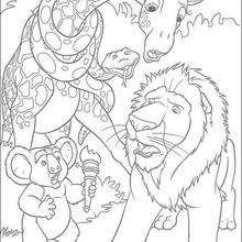 Dibujo para colorear : Bridget, Samson, Nigel y Larry sorprendidos