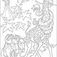 Dibujo para colorear : Bridget y Larry con los ñus