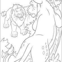 Dibujo para colorear : El leon con su cachorro