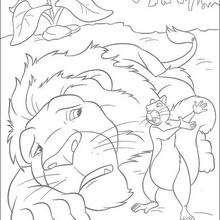 Dibujo para colorear : Benny con Samson desesperado