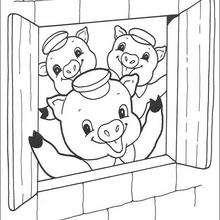 Dibujos de los cerditos en la casa - Dibujos para Colorear y Pintar - Dibujos de CUENTOS para colorear - Dibujos de los 3 CERDITOS para colorear