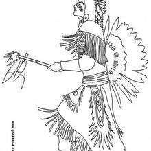 Un jefe indio - Dibujos para Colorear y Pintar - Dibujos para colorear PERSONAJES - Vaqueros e indios: dibujos para pintar