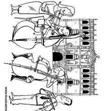 Cuarteto de cuerda y detrás la fachada de la Universidad Cisneriana - Dibujos para Colorear y Pintar - Dibujos infantiles para colorear - Instrumentos de Música: dibujos para colorear