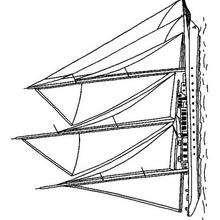 Dibujo velero de 3 mástiles - Dibujos para Colorear y Pintar - Dibujos para colorear MEDIOS DE TRANSPORTE - Dibujos para colorear VELEROS