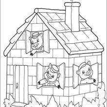 Dibujo de los 3 cerditos en seguridad - Dibujos para Colorear y Pintar - Dibujos de CUENTOS para colorear - Dibujos de los 3 CERDITOS para colorear