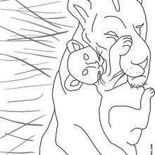 Dibujo de leona con su cachorro - Dibujos para Colorear y Pintar - Dibujos para colorear ANIMALES - Dibujos ANIMALES SALVAJES para colorear - Dibujos ANIMALES DE LA SABANA para colorear - Colorear LEON
