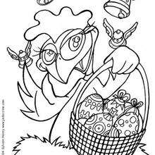 Dibujo para colorear : Gallina con Huevos pintados