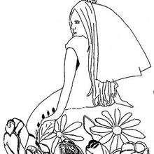 Una princesa soñadora - Dibujos para Colorear y Pintar - Dibujos de PRINCESAS para colorear - Dibujos para colorear PRINCESAS gratis
