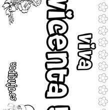 VICENTA colorear nombres niñas - Dibujos para Colorear y Pintar - Dibujos para colorear NOMBRES - Dibujos para colorear NOMBRES NIÑAS
