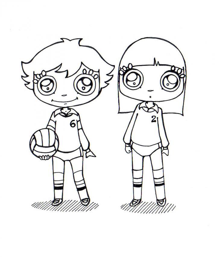 Dibujo para colorear : jugadora de voleibol