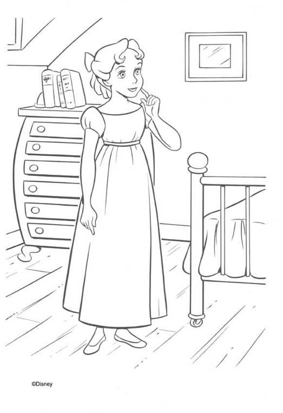 Dibujo para colorear   Wendy en su cuartoPeter Pan And Wendy Kiss Coloring Pages